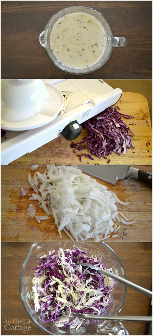 Dressing and slicing cabbage for Cabbage Salad with Creamy Feta Vinaigrette