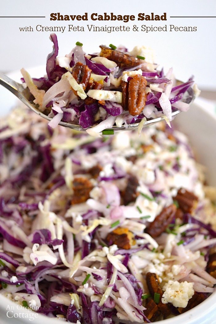 Shaved Cabbage Salad with Creamy Feta Vinaigrette and Spiced Pecans on spoon.