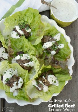 Greek Style Grilled Beef Lettuce Wraps