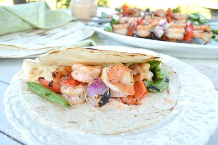 Grilled shrimp and vegetable tacos make an easy family meal and are SO flavorful.
