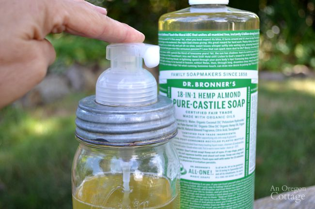 It's easy to make your own foaming soap with castile soap, water, and essential oil