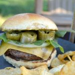 Smashed Garlic Burgers with Jalapeño with chips