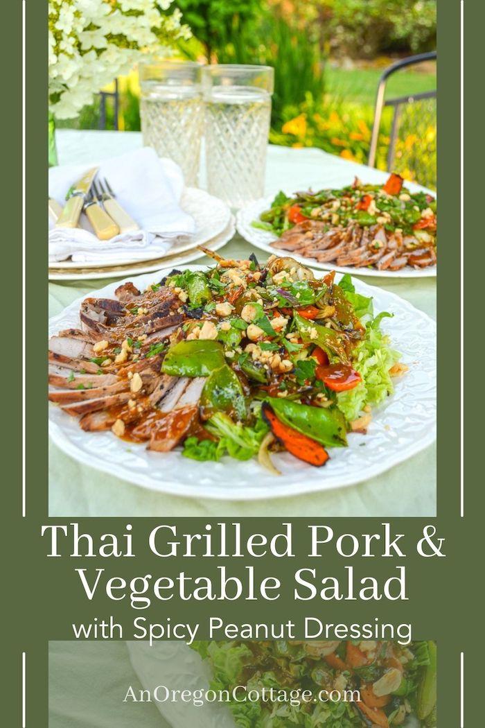 grilled pork-vegetable salad with peanut dressing pin