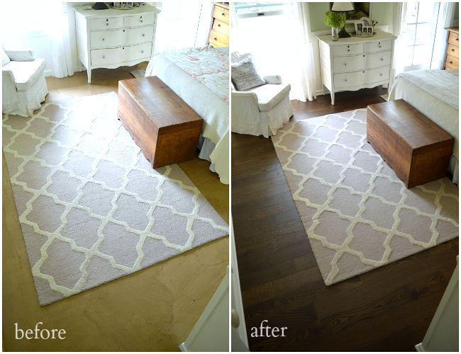 DIY floating floor before and after example