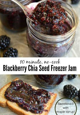 The easiest jam you will ever make using 4 real food ingredients, including maple syrup as the sweetener!