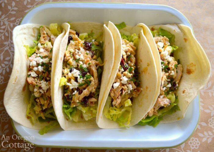 chicken salad in tortillas above