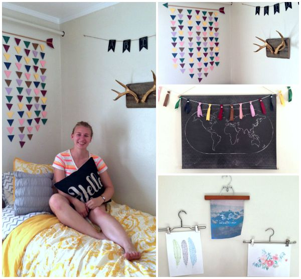and that colorful hanging decoration over the bed scrapbook paper cut