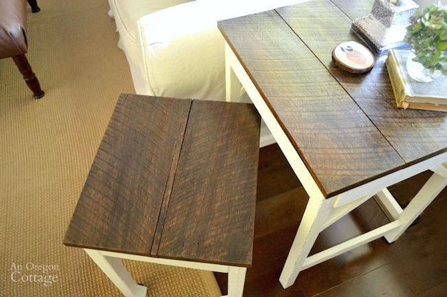 DIY Nesting Tables Reclaimed Tops