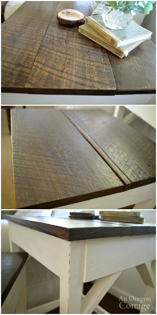 DIY nesting tables reclaimed wood top & imperfections
