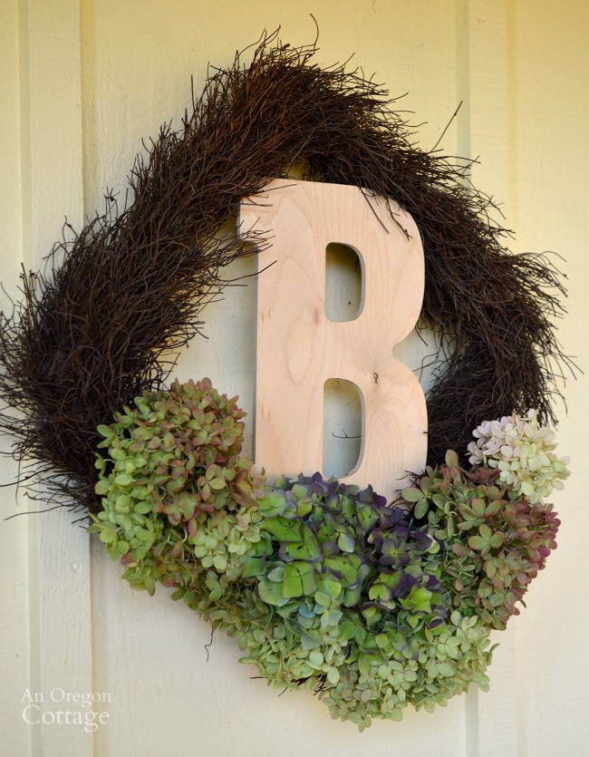 Fall Monogram Hydrangea square wreath-easy fall decor