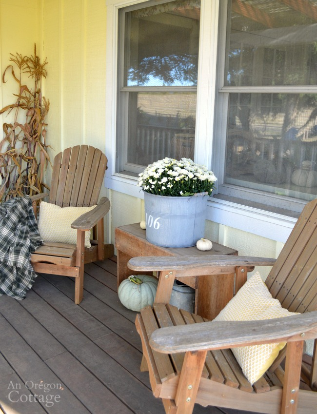 Fall Porch with easy Adirondack chair fall decor