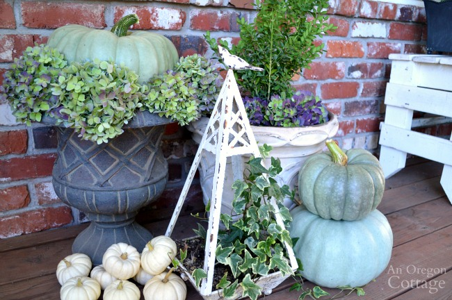 Fall Porch 2015-green and white pumpkin topiaries with hydrangeas