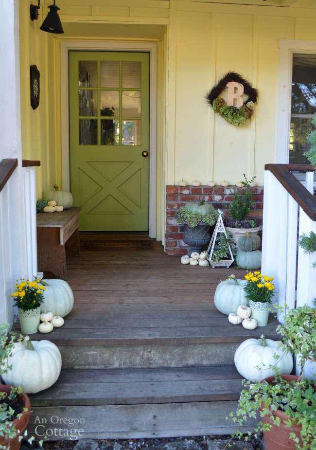 Neutral & Natural Fall Porch-green, white and hydrangeas for fall decor