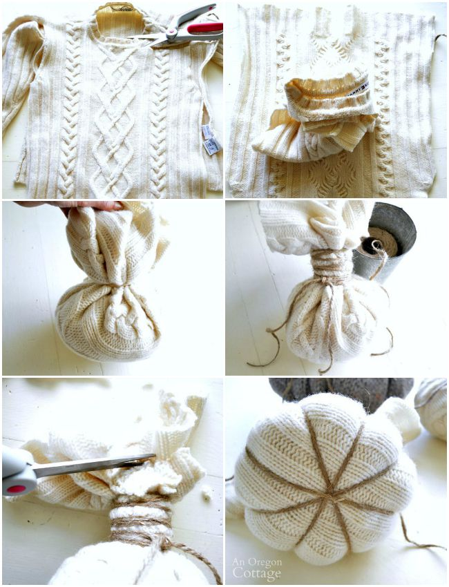 Making felted wool sweater pumpkins
