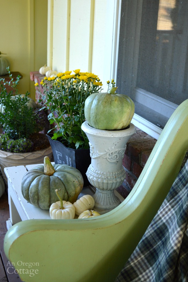 Neutral and Natural Fall Porch 2015-Pumpkins and mums decor