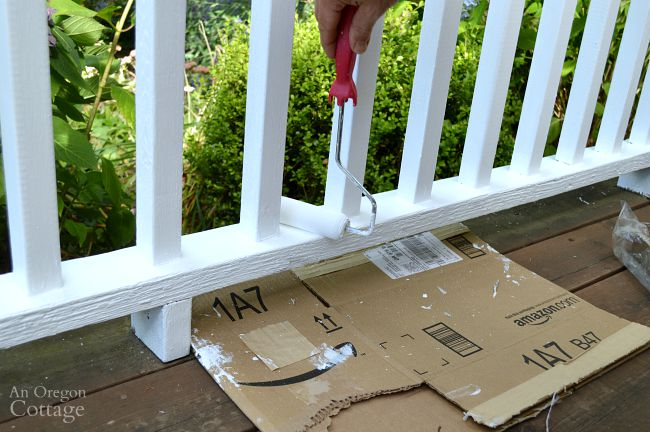 Repaint porch railings tips-foam roller and cardboard