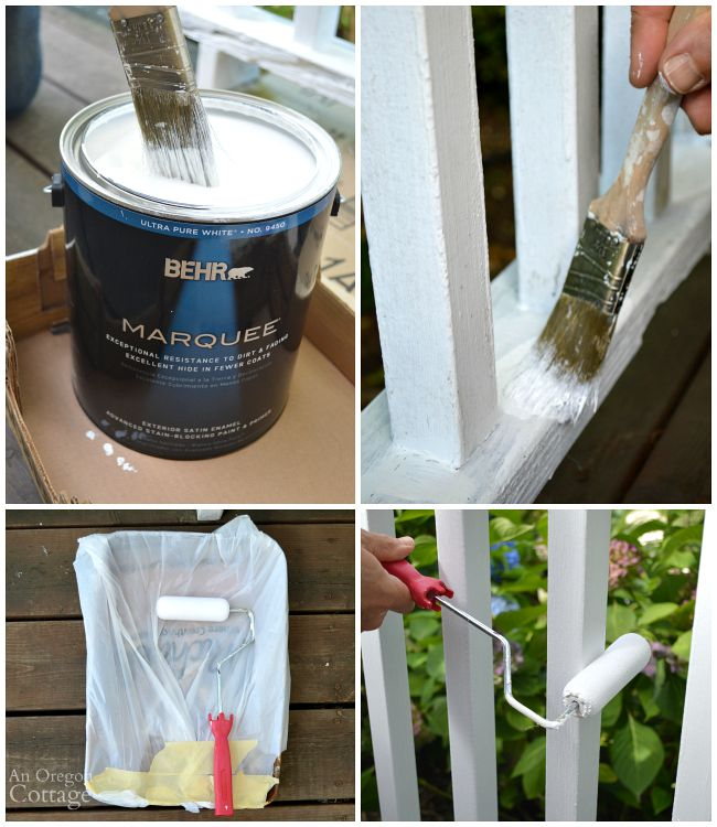 Repaint porch railings tips-narrow brush and foam roller