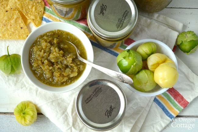 Roasted Green Salsa made with either tomatillos or green tomatoes