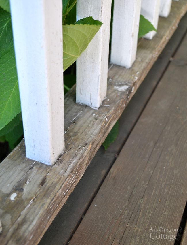 Repaint porch railings-well scraped porch railing before painting