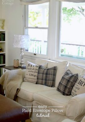 Easy, DIY plaid envelope pillow tutorial- warm up your home with cozy flannel pillows in an hour!