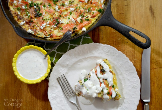 Greek flavored salmon and vegetable frittata