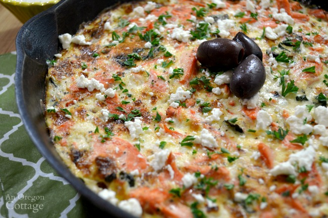 Greek salmon and vegetable skillet frittata