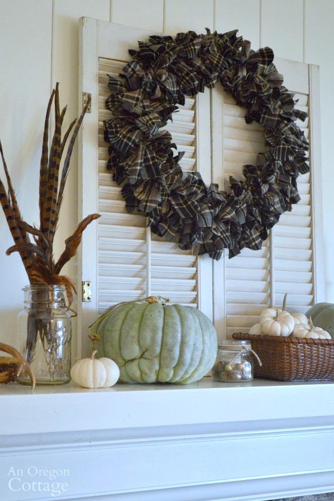 Make an easy DIY plaid wreath for your fall mantel