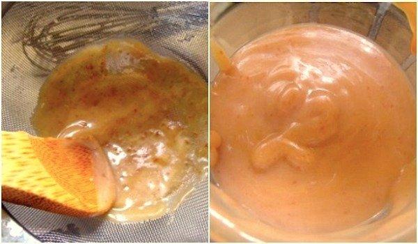 Burnt caramel dip fix-pushing through strainer