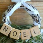 DIY Scrabble Tile Grapevine Wreath Christmas Ornament-Noel