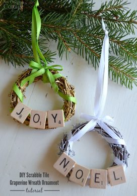 DIY Scrabble Tile Grapevine Wreath Christmas Ornament easy tutorial
