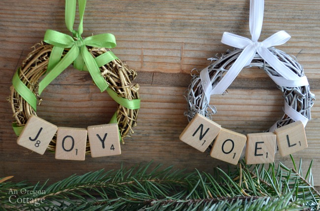 diy scrabble tile grapevine wreath christmas ornaments - Grapevine Garland Christmas Decorations