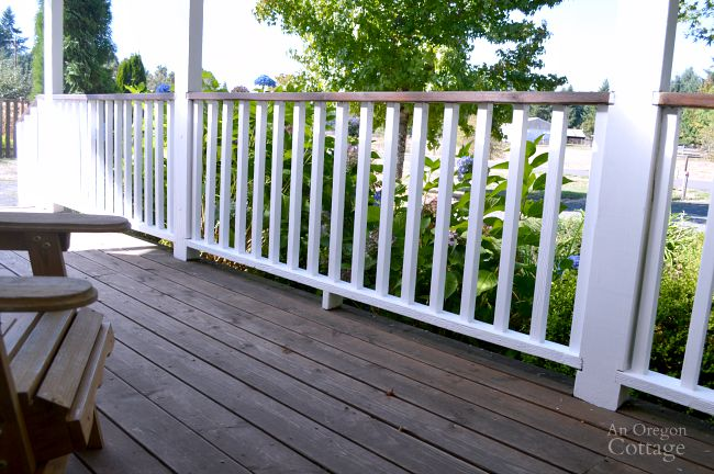 Freshly repainted porch railings