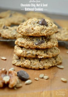 Gluten free Chocolate Chip, Nut & Seed Oatmeal Cookies stack