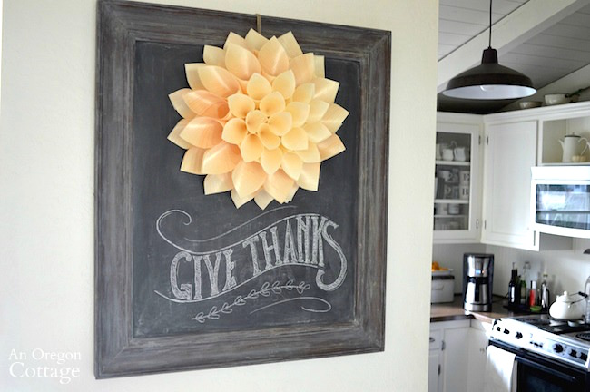 Thanksgiving Wood Cone Wreath Chalkboard