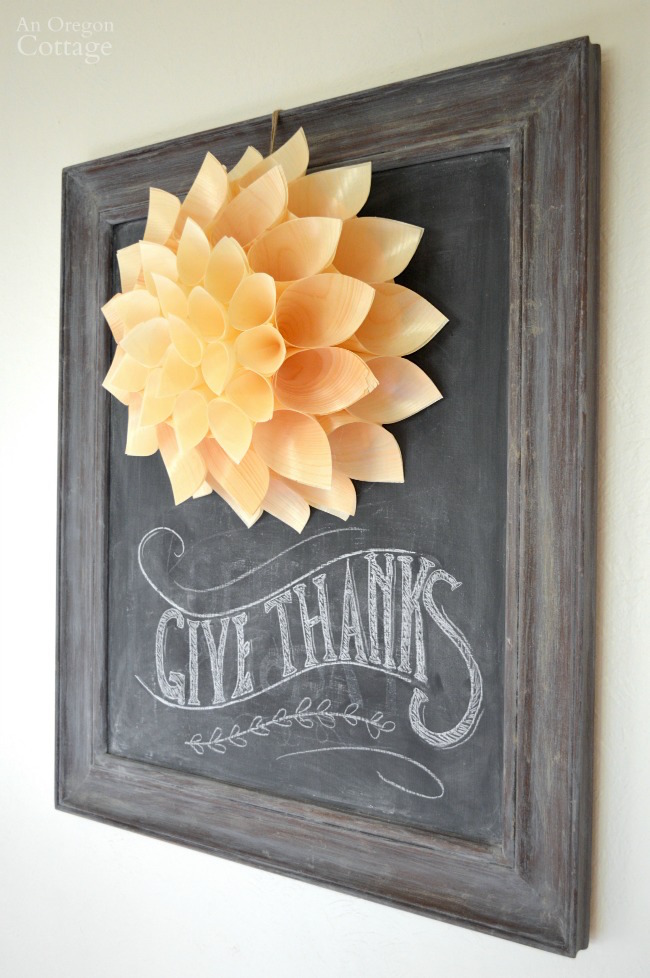 Wood Cone Wreath Thanksgiving Chalkboard