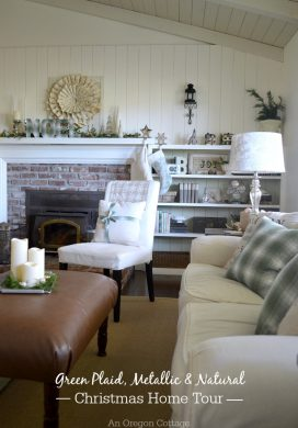 2015 Christmas Home Tour-Green Plaid, Metallic and Natural Decor