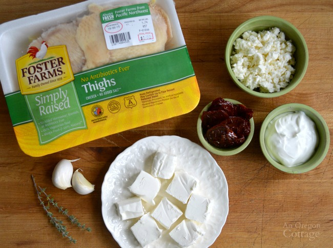 Chicken Feta and Dried Tomato Dip-ingredients