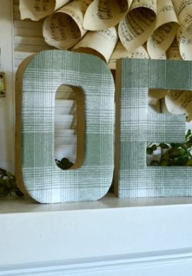 DIY Plaid Fabric Covered Paper Mache Letters