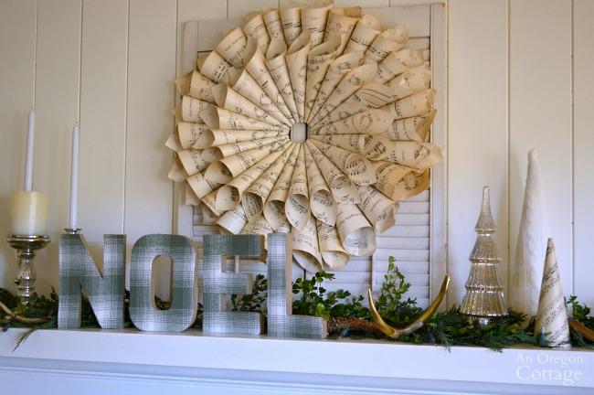 DIY Plaid Fabric Paper Mache Noel Mantel