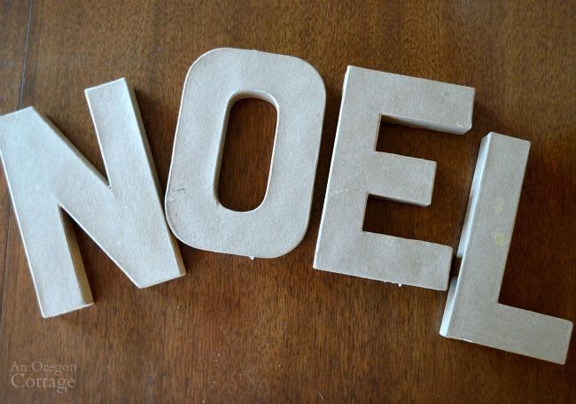 DIY Plaid Paper Mache Letters-before