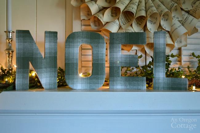 DIY Plaid Paper Mache Noel Letters