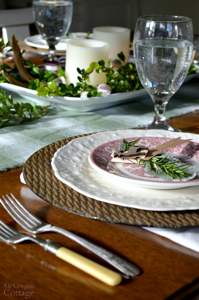 Green Plaid-Rustic Christmas Table place setting and centerpiece