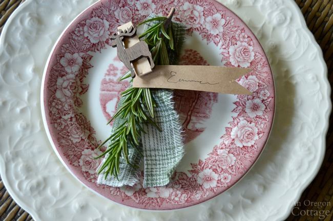 Green Plaid-Rustic Christmas Table simple rosemary name tag
