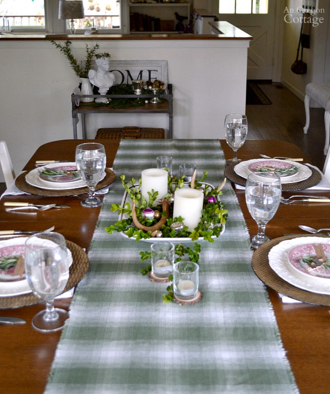 Green Plaid-Rustic Christmas Table with red transferware