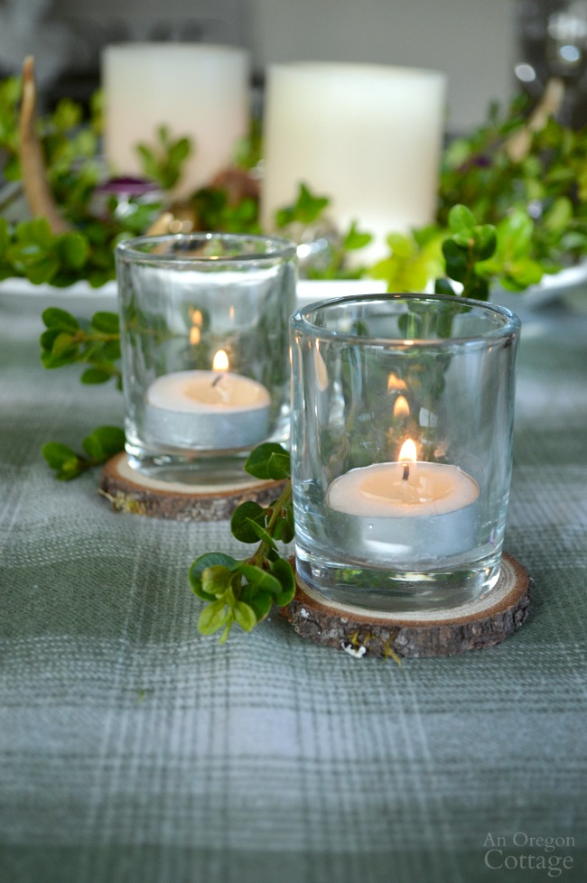 Green Plaid-Rustic Christmas Table wood slice candle holders