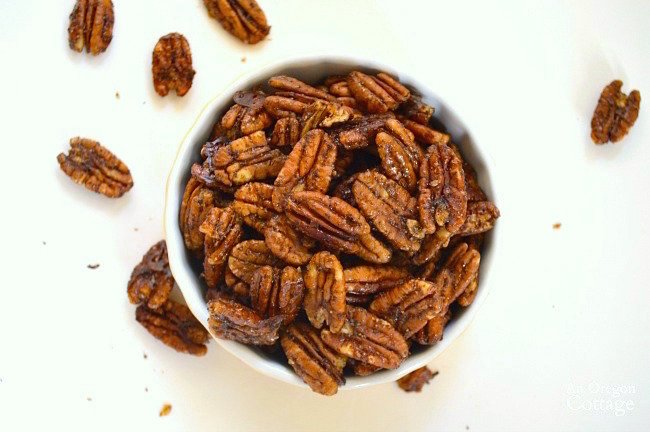 Healthy Maple Sweetened Chili Pecans above