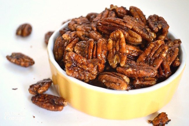 Healthy Maple Sweetened Chili Pecans