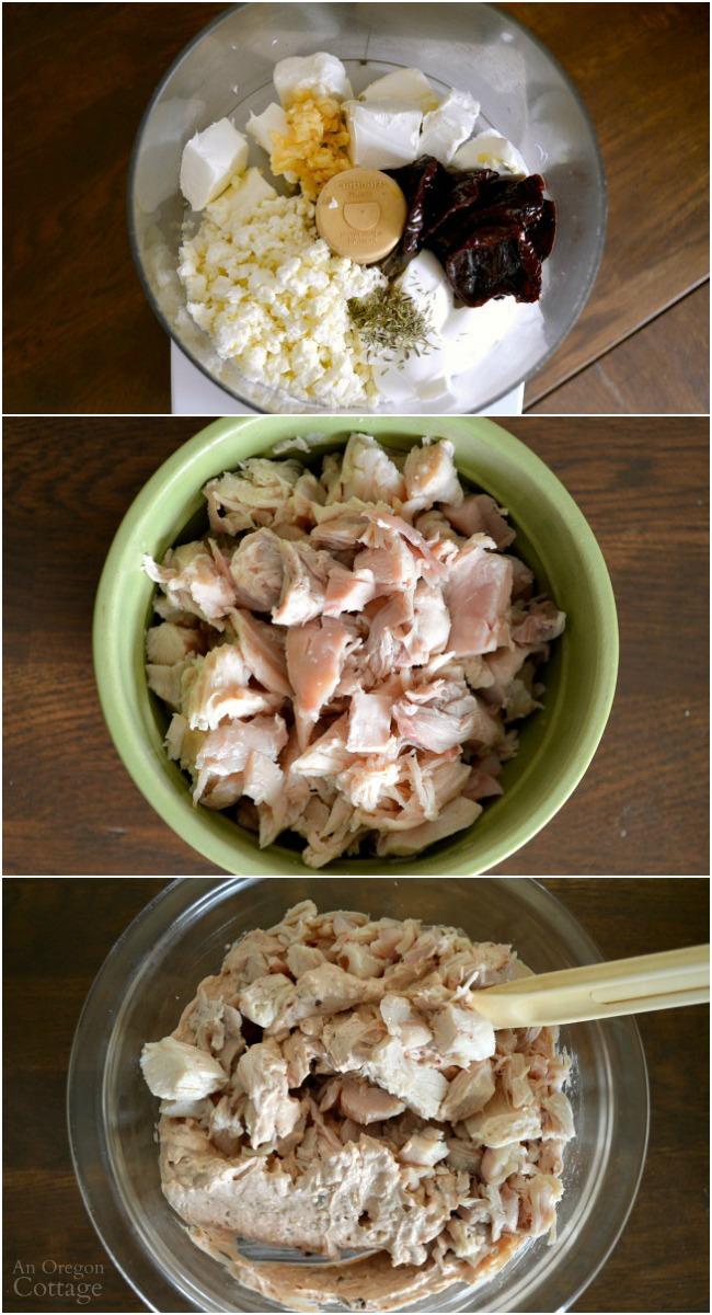 Making Chicken Feta and Sun Dried Tomato Dip