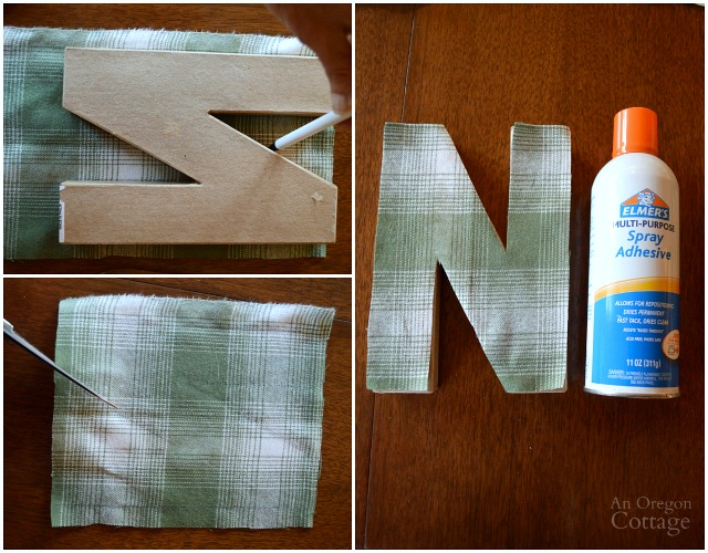 DIY Plaid Fabric Covered Paper Mache Letters | An Oregon Cottage