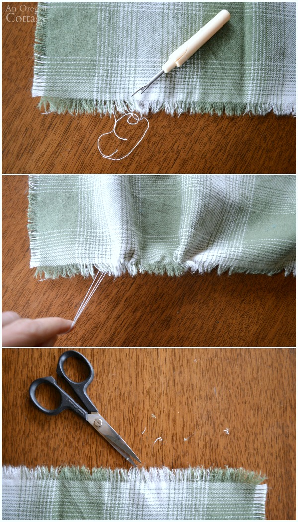 Making an easy, no-sew fringed table runner